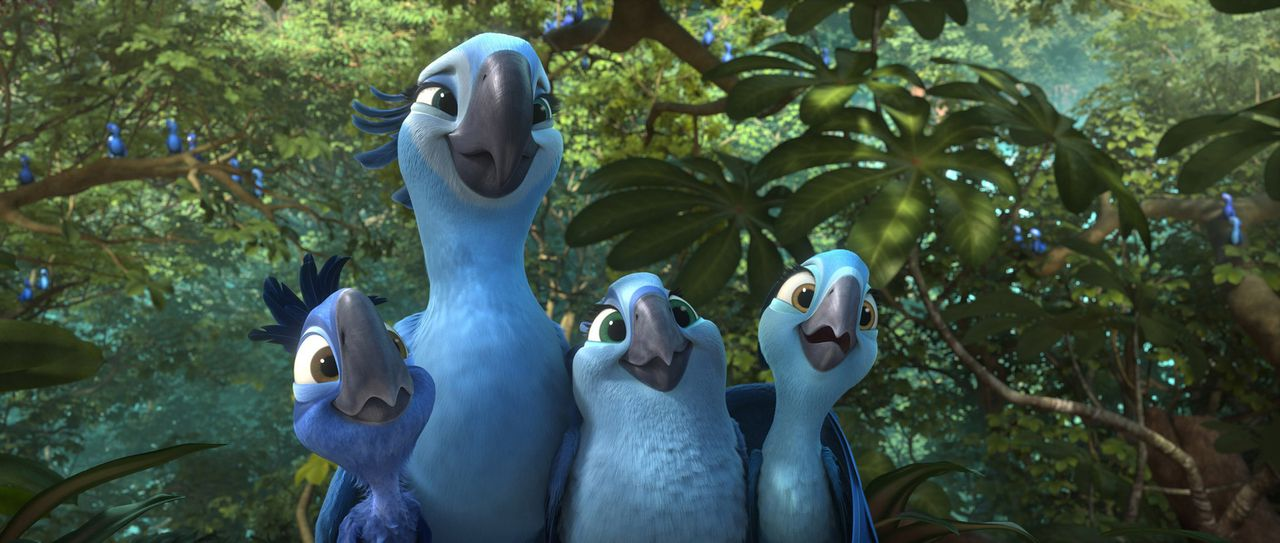 Jewel (2.v.l.) will unbedingt, dass ihre drei Kinder in der unberührten Natur des Amazonas aufwachsen. Ob Blu da mitspielt? - Bildquelle: 2014 Twentieth Century Fox Film Corporation.  All rights reserved.