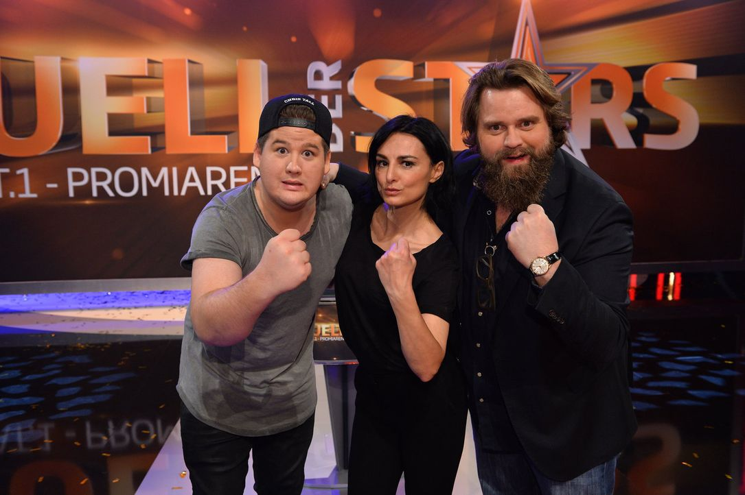 """Geben beim """"Duell der Stars"""" alles: Chris Tall (l.), Mimi Fiedler (M.) und Antoine Monot (r.). Werden sie dem anderen Promi-Team in Action-, Strateg... - Bildquelle: Willi Weber SAT.1"""