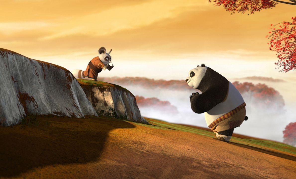 """Der Trainer der legendären Kampfsporttruppe, die """"Furiosen Fünf"""", Meister Shifu (l.) steht vor einer schweren Aufgabe: Der dicke Panda Po (r.) sol... - Bildquelle: Paramount Pictures"""