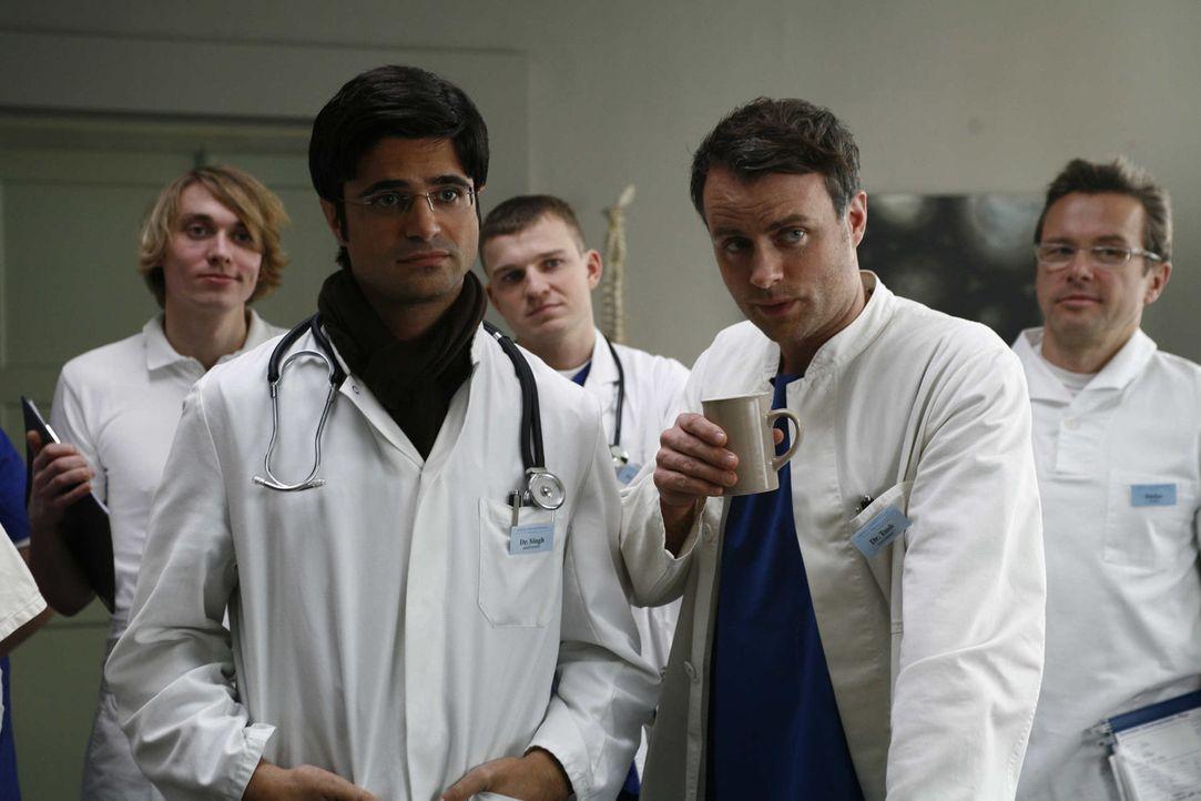 Als ihr tyrannischer Chef als Patient in die Klinik eingeliefert wird, wittern die Ärzte Singh (Maximilian Grill, vorne l.), Leo (André Röhner, v... - Bildquelle: Volker Roloff SAT.1