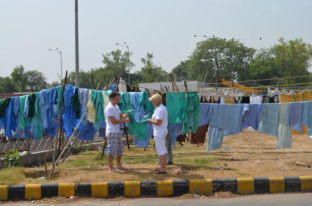Die Wäschereiangestellten Ele (34) und Nanni (54) schlagen sich durch den indischen Großstadtdschungel Neu Delhi: Bei über 40 Grad im Schatten un... - Bildquelle: kabel eins