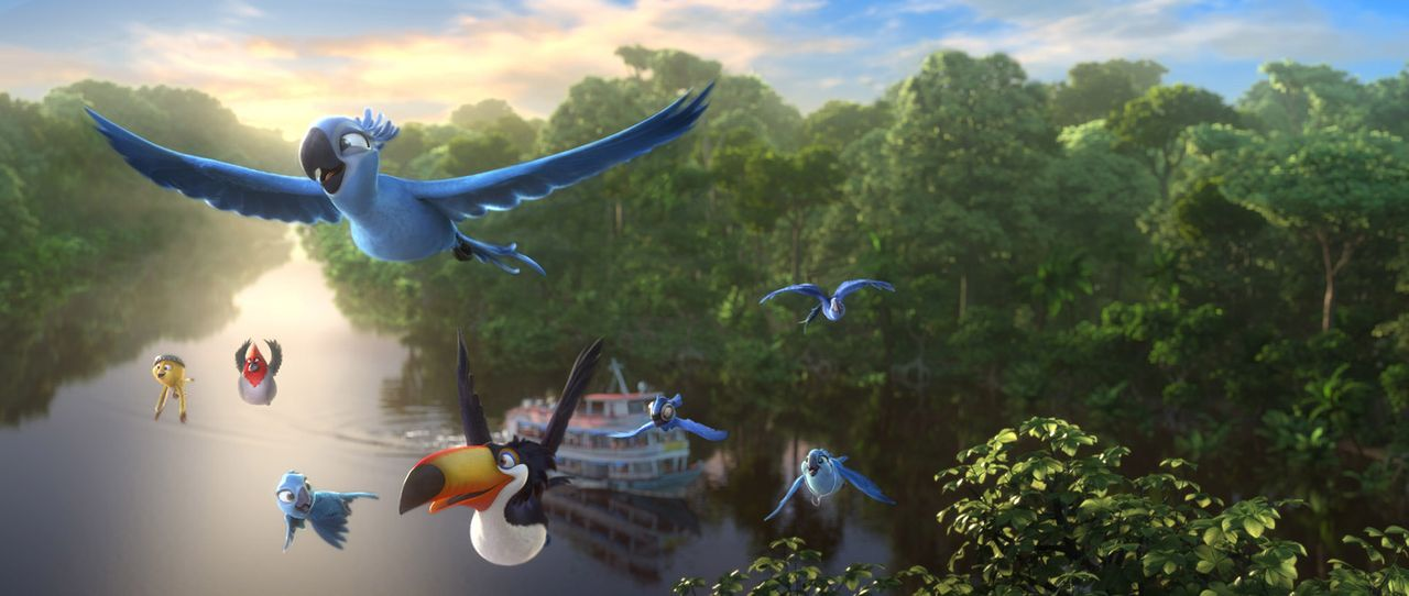 Sie brechen auf in die große weite Welt und kommen hoffentlich am Amazonas an: Nico (l.), Pedro (2.v.l.), Carla (r.), Jewel (2.v.r.) und Blu (oben)... - Bildquelle: 2014 Twentieth Century Fox Film Corporation.  All rights reserved.
