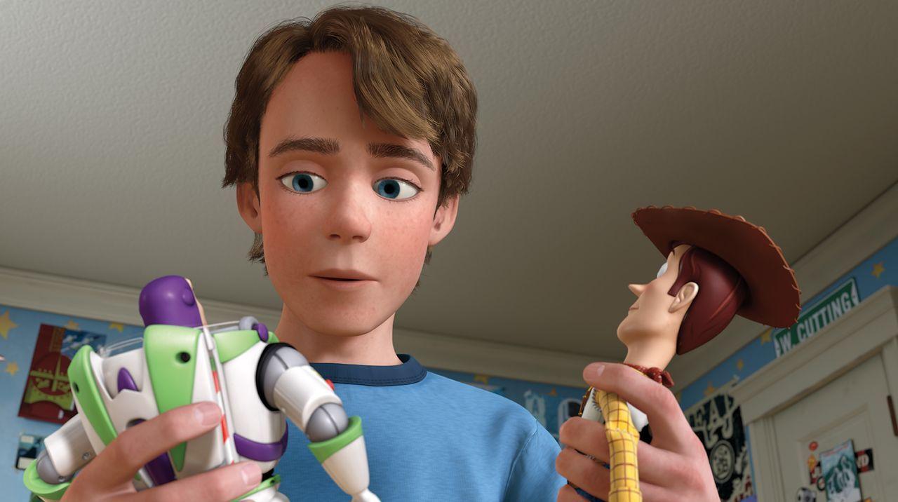 (v.l.n.r.) Buzz Lightyear; Andy; Sheriff Woody - Bildquelle: Disney/Pixar