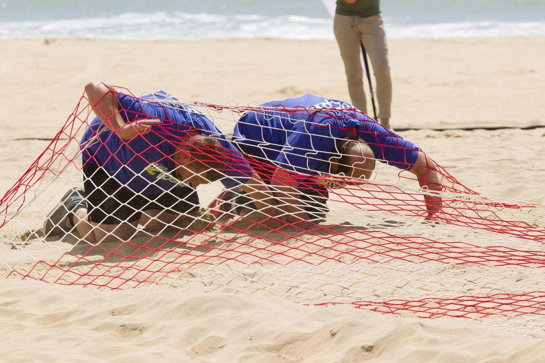 Auf Erfolgskurs: Lukas (l.) und Björn (r.) müssen in der neuen Challenge ordentlich Sand bewegen ... - Bildquelle: Enrique Cano SAT.1