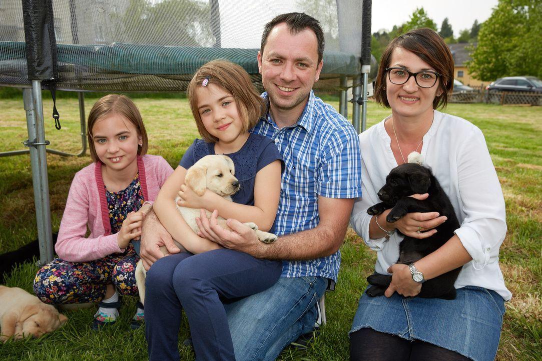 Maria (r.), Thomas (2.v.r.) und die zwei gemeinsamen Kinder Sunny (2.v.l.) und Emely (l.) Kolodziej möchten einen Hund. Doch welcher Hund wird es we... - Bildquelle: Guido Engels SAT.1