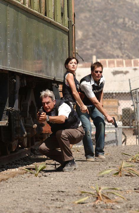 Arbeiten an einem schwierigen Fall: Gibbs (Mark Harmon, l.), Tony (Michael Weatherly, r.) und Kate (Sasha Alexander, M.) ... - Bildquelle: CBS Television