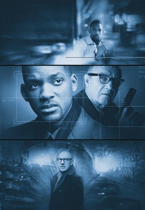 Robert Clayton Dean (Will Smith, l.) gerät in die Fänge der mächtigsten Überwachungsmaschinerie der Welt und bittet den Agenten Brill (Gene Hack... - Bildquelle: Buena Vista Pictures