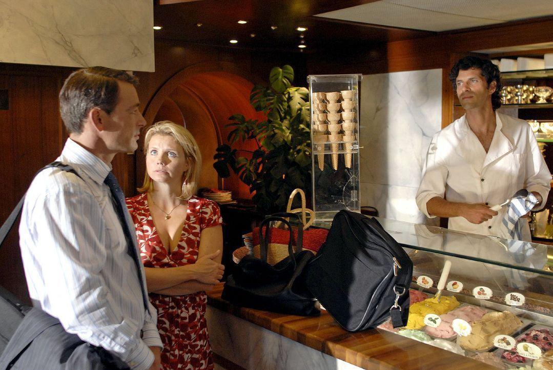 Plötzlich steht Tom in der Eisdiele, entschlossen, Lissy und ihre Karriere in Hamburg zu retten...  v.l.n.r.: Tom (Jan Sosniok), Lissy (Annette Frie... - Bildquelle: Sat.1