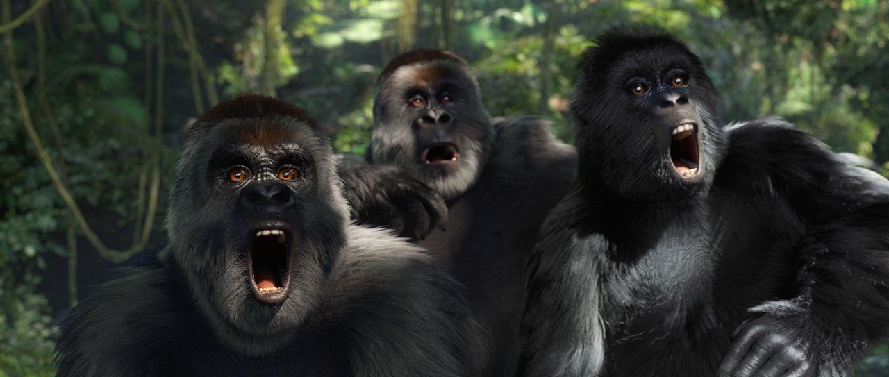 Die Affenbande ist empört. Mit großen Augen und weitaufgerissenen Mäulern schreien sie in den Dschungel hinein. - Bildquelle: Constantin Film