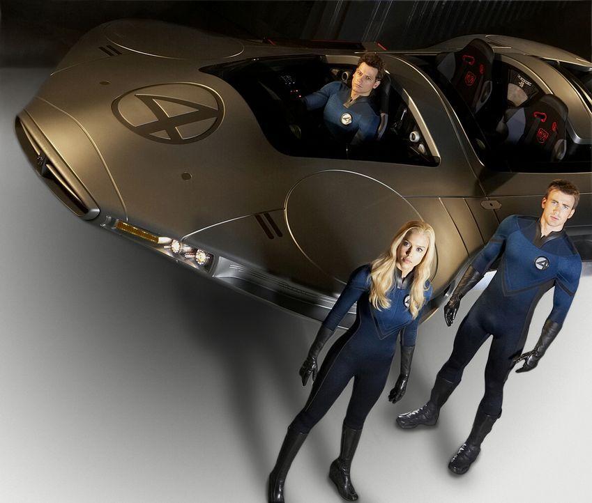 Susan (Jessica Alba, M.), Johnny (Chris Evans, r.) und Reed (Ioan Gruffudd, l.) müssen schnellstmöglich herausfinden, wie sie die Erde retten können... - Bildquelle: Twentieth Century Fox