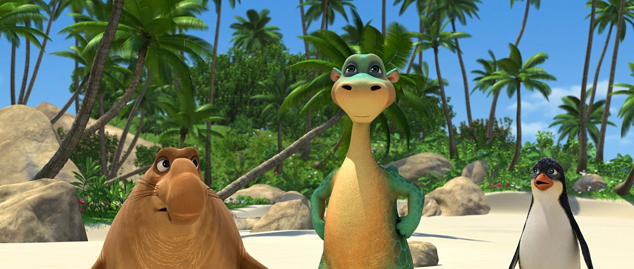 Urmel (M.) hat es seinen Freunden beim Beachvolleyball mal wieder richtig geziegt! Seele-Fant (l.) und Ping (r.) sind schwer beeindruckt. - Bildquelle: Constantin Film
