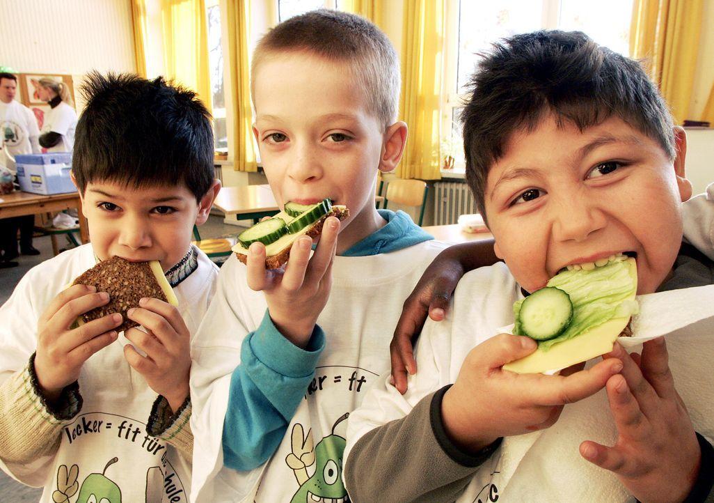 Schüler essen gesunde Pausenbrote - Bildquelle: dpa
