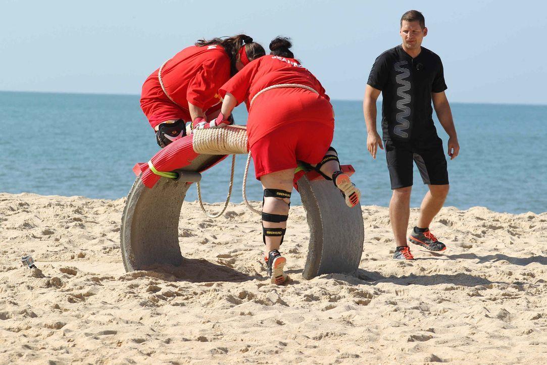 Körpereinsatz ist gefragt: Barbara (l.) und Jeannette (M.) mit Coach Ramin Abtin (r.) ... - Bildquelle: Enrique Cano SAT.1