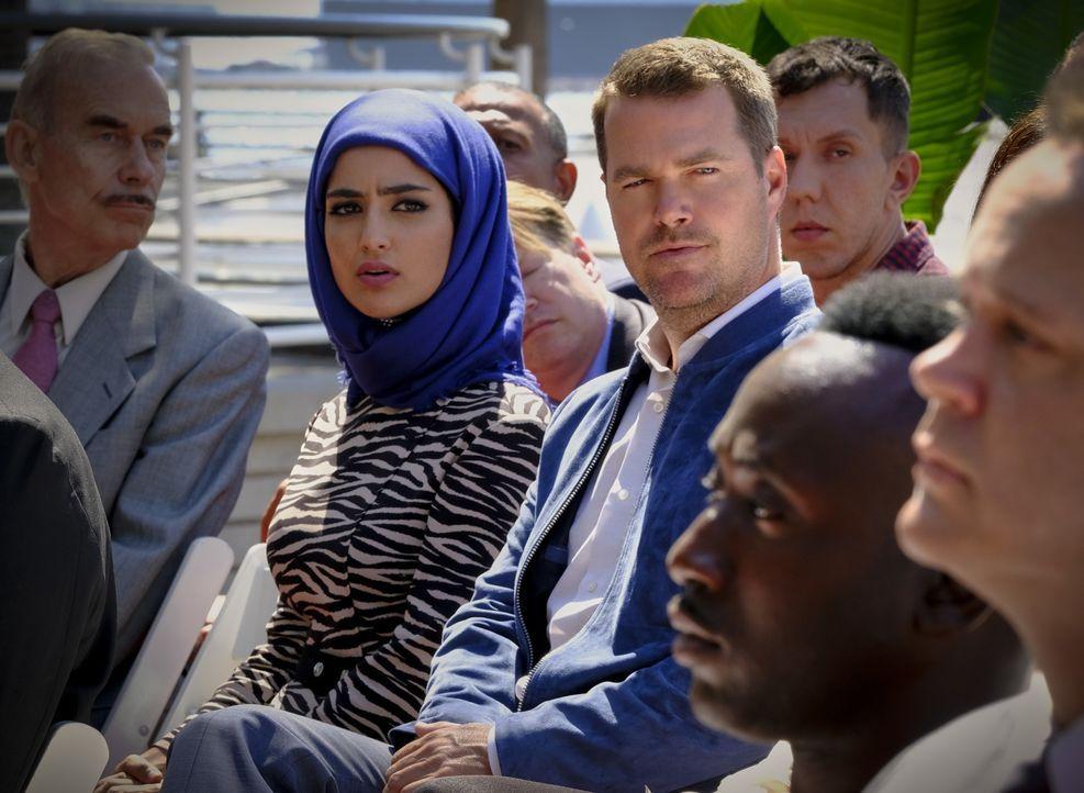Fatima Namazi (Medalion Rahimi, l.); G. Callen (Chris O'Donnell, r.) - Bildquelle: Trae Patton 2019 CBS Broadcasting, Inc. All Rights Reserved. / Trae Patton