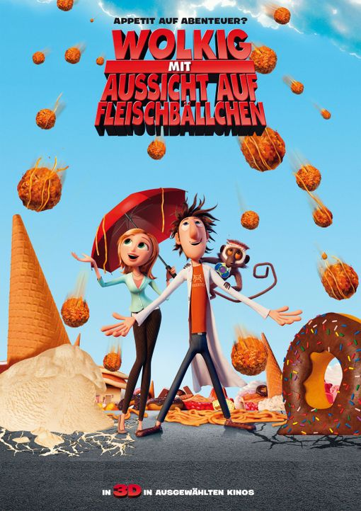 Wolkig mit Aussicht auf Fleischbällchen - Plakatmotiv - Bildquelle: 2009 Sony Pictures Animation Inc. All Rights Reserved.