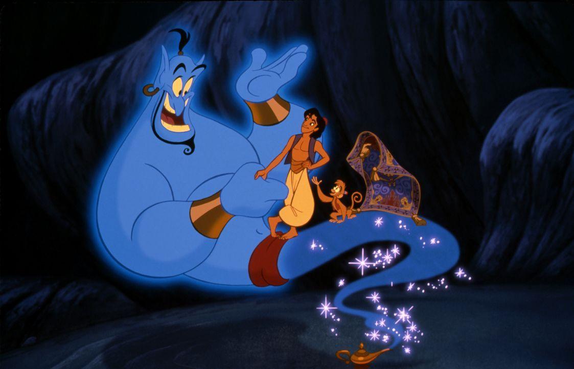 (v.l.n.r.) Dschinni; Aladdin; Abu - Bildquelle: The Walt Disney Company