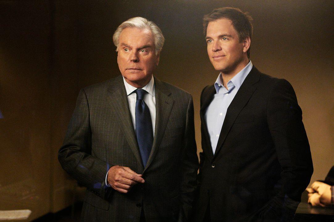 Tony (Michael Weatherly, r.) bekommt überraschend Besuch von seinem Vater (Robert Wagner, l.) ... - Bildquelle: CBS Television