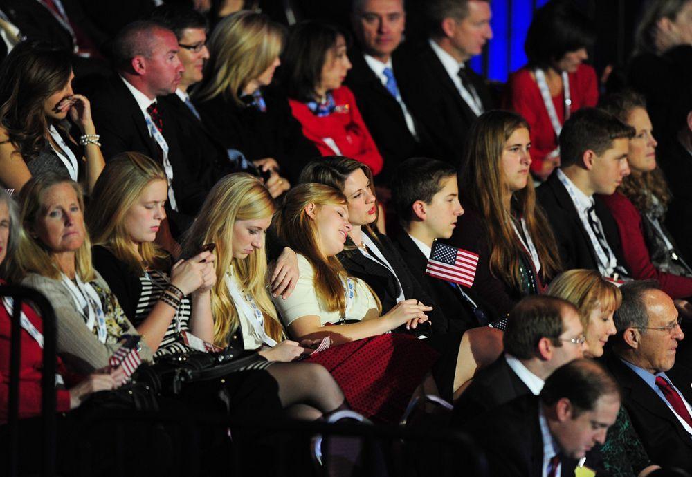 Anhänger des republikanischen Herausforderers Mitt Romney im Boston Convention and Exhibition Center - Bildquelle: dpa - Bildfunk +++ Verwendung nur in Deutschland