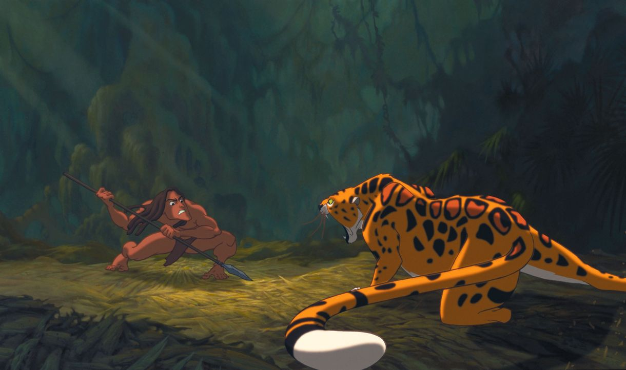 Kaum erwachsen, wird Tarzan, l. von dem blutgierigen Leoparden Sabor, r. angegriffen. Als es ihm gelingt, den Mörder seiner Eltern und Kerchaks Baby... - Bildquelle: Edgar Rice Burroughs Inc. and Disney