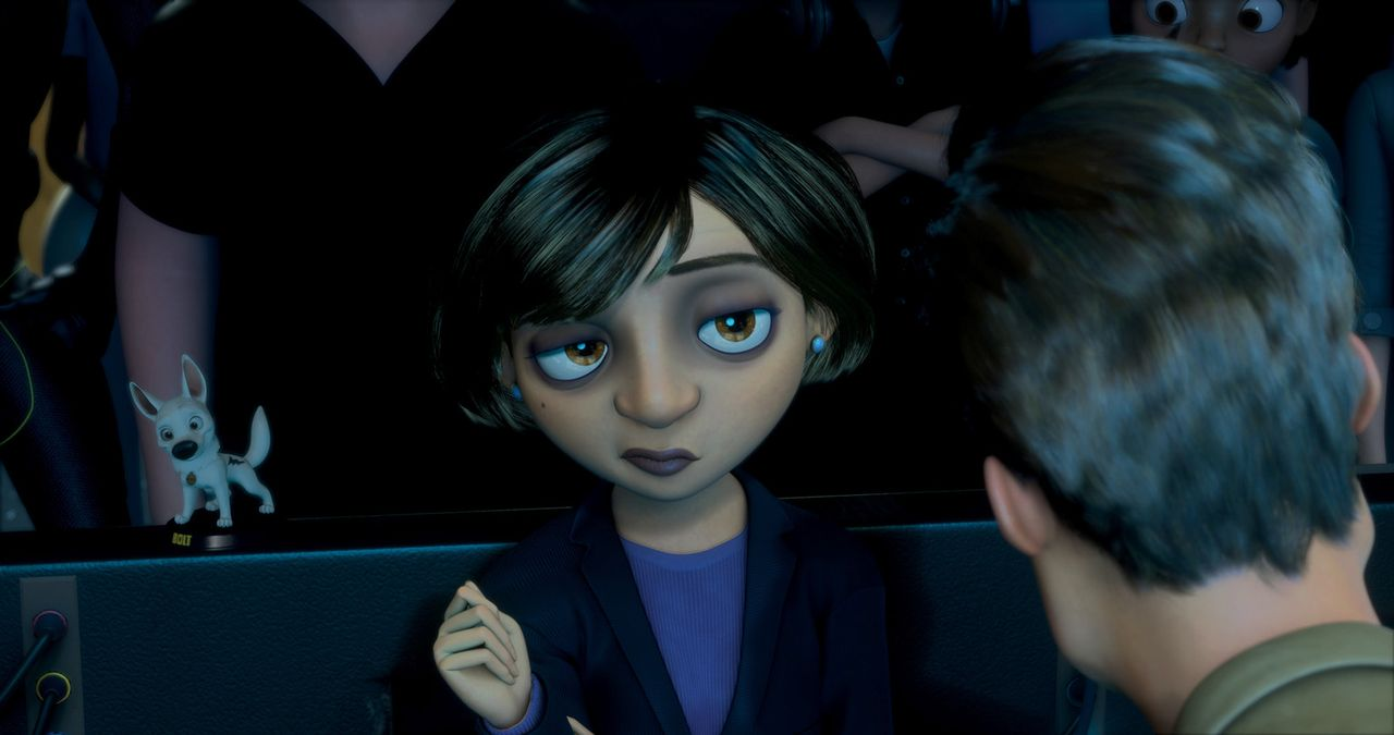 """Die Quoten der Serie """"Bolt"""" lassen drastisch nach und Mindy (l.) teilt dem Regisseur (r.) mit, dass sich das schleunigst ändern muss, da die Serie... - Bildquelle: Disney Enterprises, Inc.  All rights reserved"""