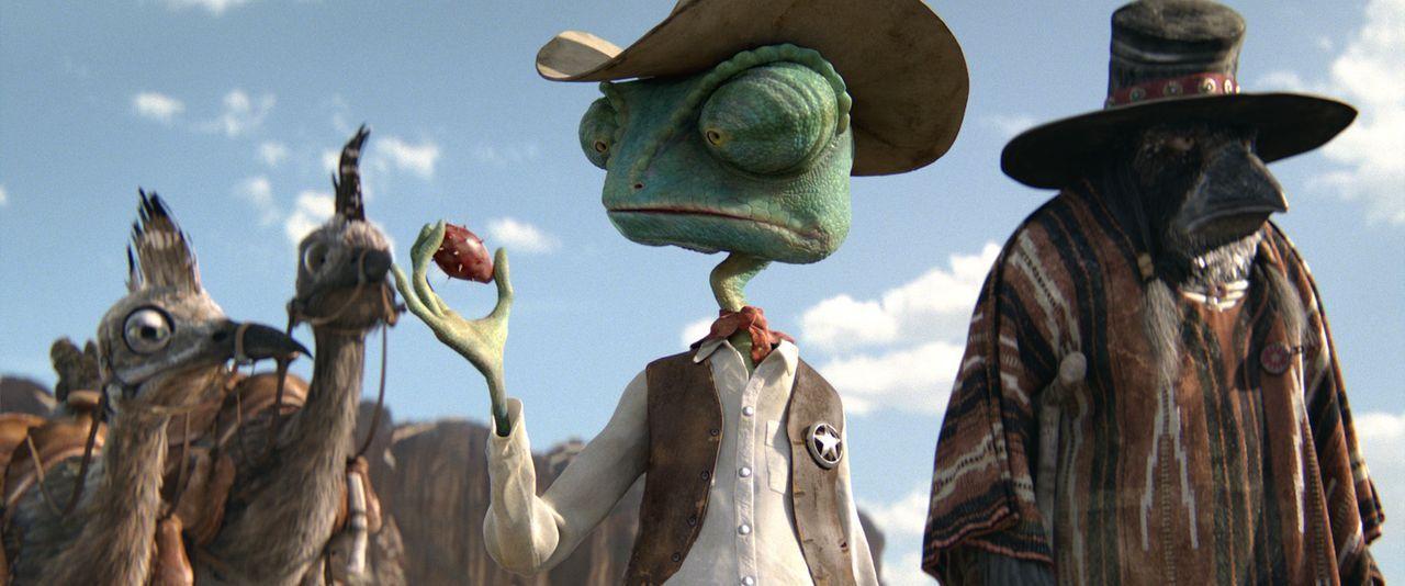 Eine Truppe ganz besonders mutiger Bewohner von Dreck machen sich mit Sheriff Rango und seinem Assistenten Wounded Bird auf den Weg durch die Wüste... - Bildquelle: Paramount Pictures. All rights reserved.