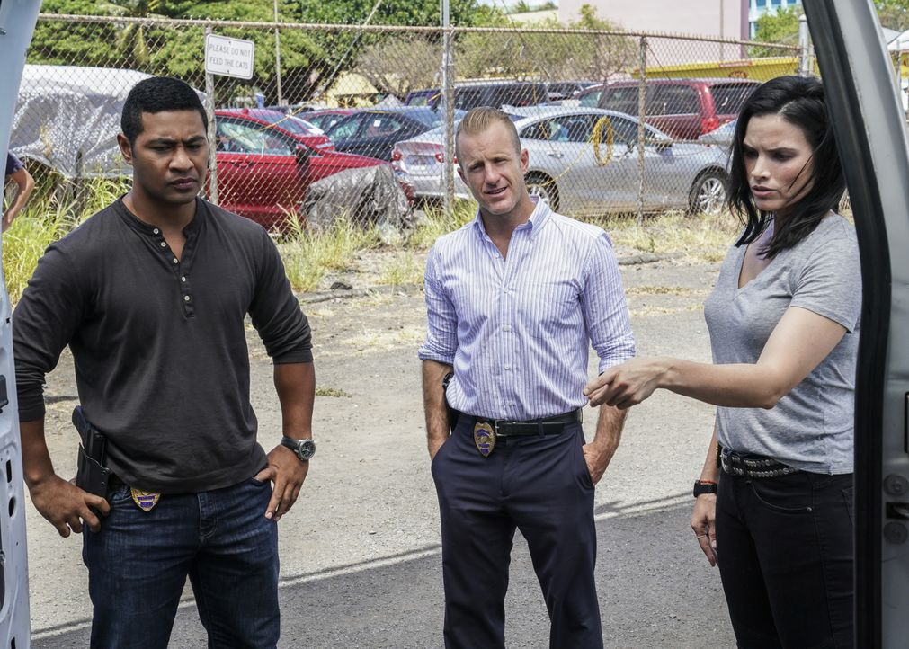 (v.l.n.r.) Junior Reigns (Beulah Koale); Danny Williams (Scott Caan); Quinn Liu (Katrina Law) - Bildquelle: Karen Neal 2019 CBS Broadcasting, Inc. All Rights Reserved. / Karen Neal