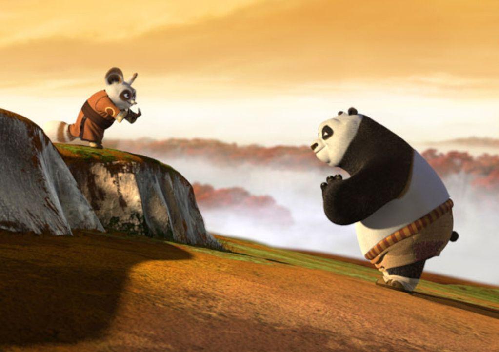 Meister Shifu (l.) versucht dem dicken Pandabären Po (r.) die alte Kunst des Kung Fu-Kampfes beizubringen, doch der Bär stellt sich anfangs viel z... - Bildquelle: Paramount Pictures