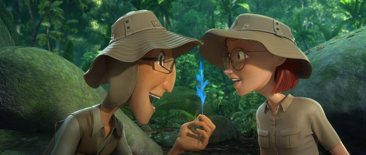 Blus Besitzer Tulio (l.) und Linda (r.) haben in den Regenwäldern am Amazonas Spuren von weiteren Spix-Aras-Papageien gefunden. Das müssen sich Blu... - Bildquelle: 2014 Twentieth Century Fox Film Corporation.  All rights reserved.