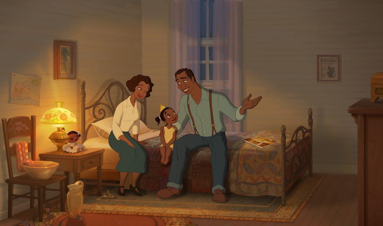 Schon seitdem Tiana (M.) ein kleines Mädchen ist, wünscht sie sich nichts sehnlicher, als ein eigenes Restaurant. Denn ihre Mutter (l.) und ihr Vate... - Bildquelle: Walt Disney Pictures.  All Rights Reserved.