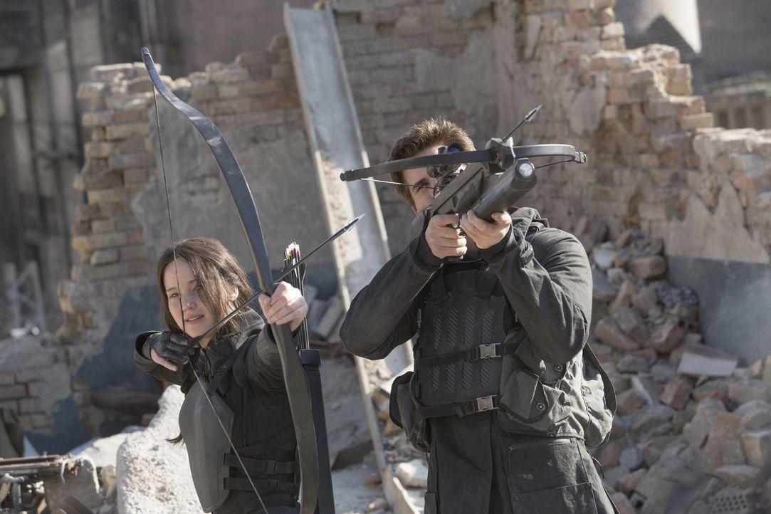 Gemeinsam sind Katniss (Jennifer Lawrence, l.) und Gale (Liam Hemsworth, r.) wildentschlossen, ihre Gegner auszuschalten und für die Freiheit des Vo... - Bildquelle: Murray Close TM &   2014 Lions Gate Entertainment Inc. All rights reserved.