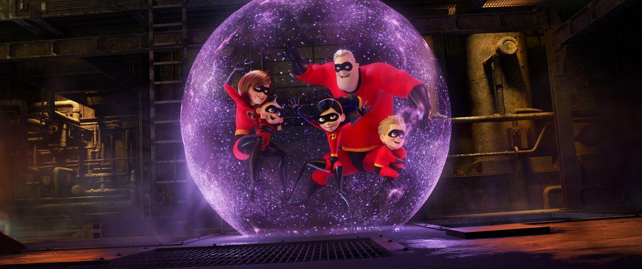 (v.l.n.r.) Helen Parr/Elastigirl; Jack-Jack Parr; Violet Parr; Bob Parr/Mr. Incredible; Dashiell Parr - Bildquelle: 2018 Disney/Pixar. All Rights Reserved.