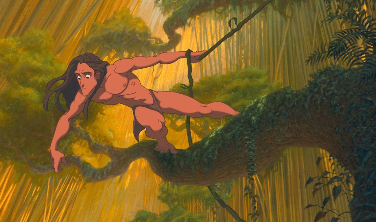 """Seit seiner Geburt wächst das Menschenkind Tarzan im Dschungel unter Affen auf. Sein ganzes Sinnen und Trachten ist darauf ausgelegt, bei seiner """"Fa... - Bildquelle: Edgar Rice Burroughs Inc. and Disney"""