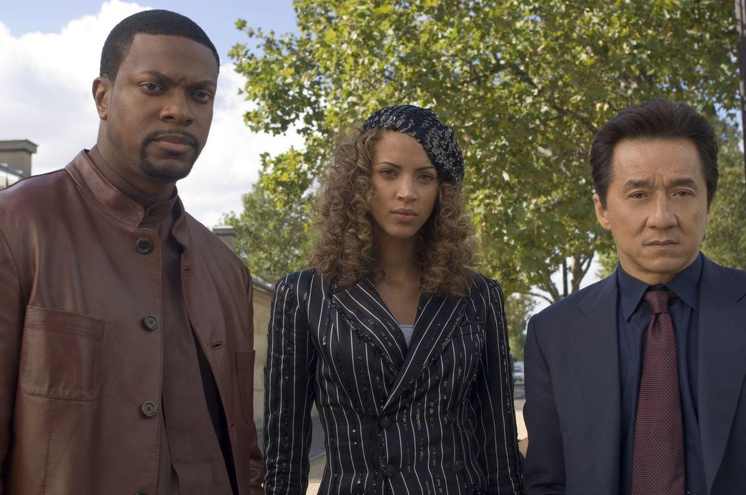Noch wissen Detective Carter (Chris Tucker, l.) und Chief Inspector Lee (Jackie Chan, r.) nicht, ob sie der schönen Geneviève (Noémie Lenoir; M.)... - Bildquelle: Warner Bros.