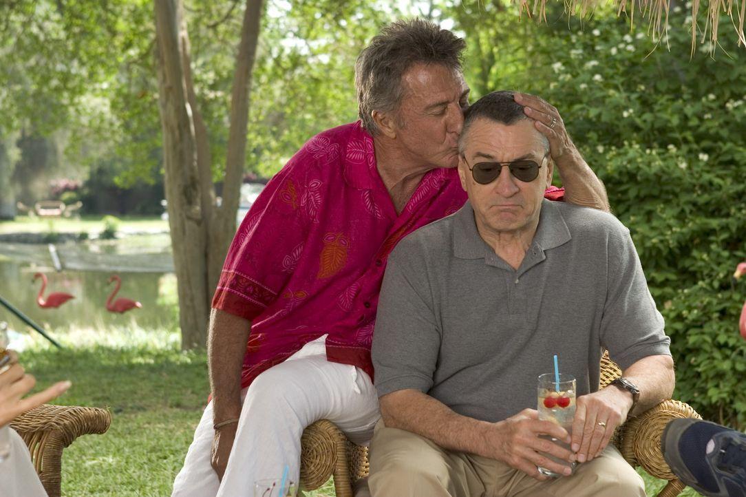 Als Ex-CIA-Agent Byrnes (Robert De Niro, r.) bei den Fockers (Dustin Hoffman, l.) eintrifft, treten die krassen Kontraste zwischen den Familie deutl... - Bildquelle: DreamWorks SKG
