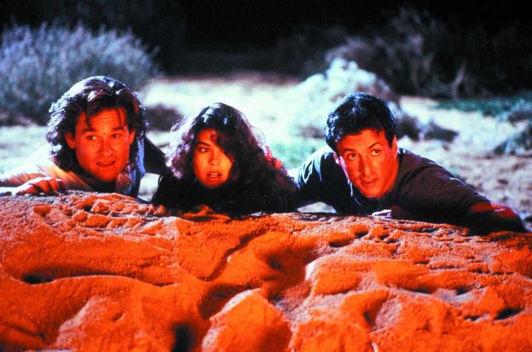 Zeigen den Gangstern, was eine Harke ist: Tango (Sylvester Stallone, r.), Cash (Kurt Russell, r.) und Katherine (Teri Hatcher, M.) ... - Bildquelle: Warner Brothers