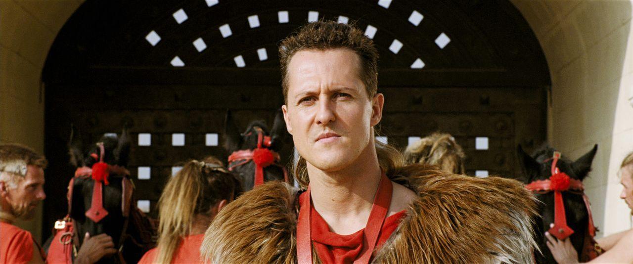 Der Gallier Romantix muss sich bei den Olympischen Spielen gegen den Rennfahrer Schumix (Michael Schumacher) behaupten, um die Hand seiner Geliebten... - Bildquelle: Constantin Film