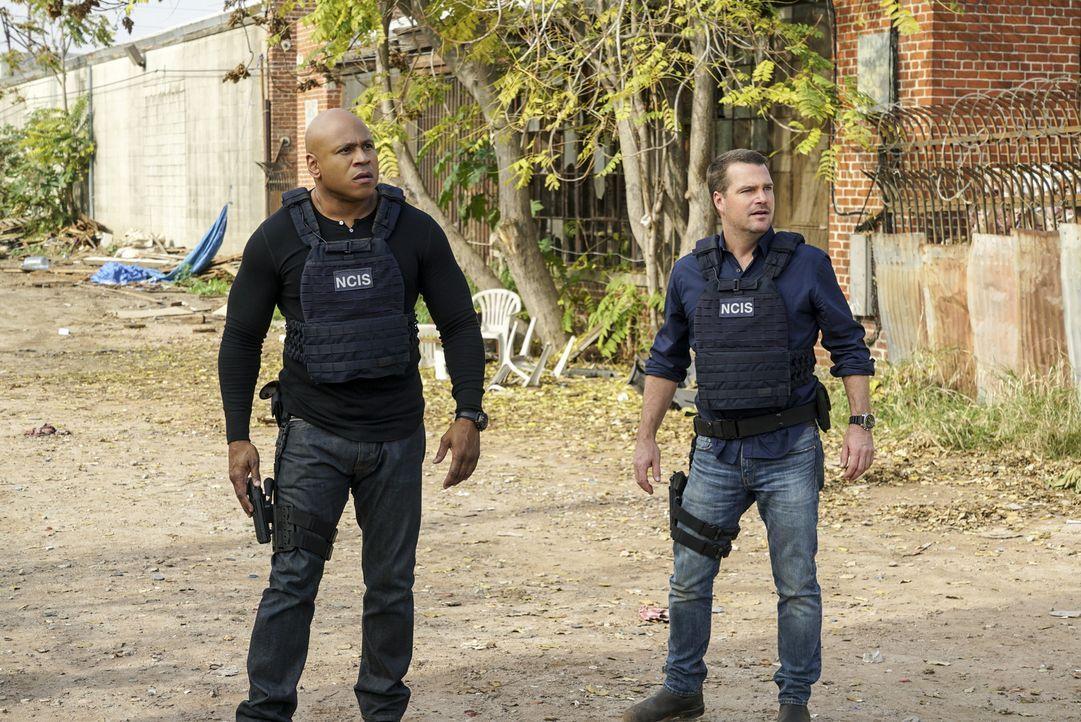 Während es Callen (Chris O'Donnell, r.), Sam (LL Cool J, l.) und Deeks gelingt, wieder auf freien Fuß zu kommen, wird Kensi entführt, und Hetty vers... - Bildquelle: Monty Brinton 2016 CBS Broadcasting, Inc. All Rights Reserved.