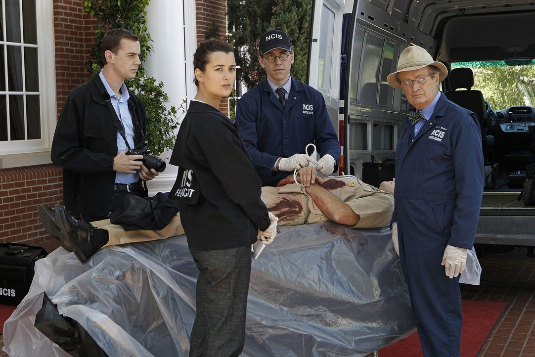 Noch stehen McGee (Sean Murray, l.), Ziva (Cote de Pablo, 2.v.l.) Ducky (David McCallum, r.) und Jimmy (Brian Dietzen, 2.v.r.) vor einem Rätsel ... - Bildquelle: CBS Television