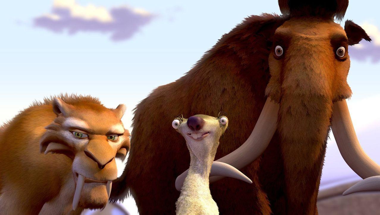 Um einen Menschen-Säugling zurück zu seiner Familie zubringen schließen sich der Einzelgänger Manni (r.), der nervige Sid (M.) und der knurrige Dieg... - Bildquelle: 2002 Twentieth Century Fox Film Corporation.  All rights reserved.