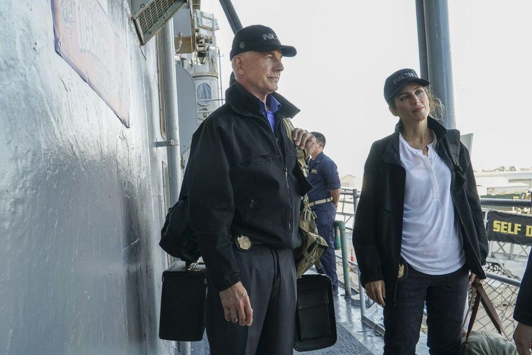 An Bord: Gibbs (Mark Harmon, l.) und Quinn (Jennifer Esposito, r.). Während dem Tiger Cruise wird eine Frau der Navy auf kaltblütige Weise ermordet.... - Bildquelle: Bill Inoshita 2016 CBS Broadcasting, Inc. All Rights Reserved
