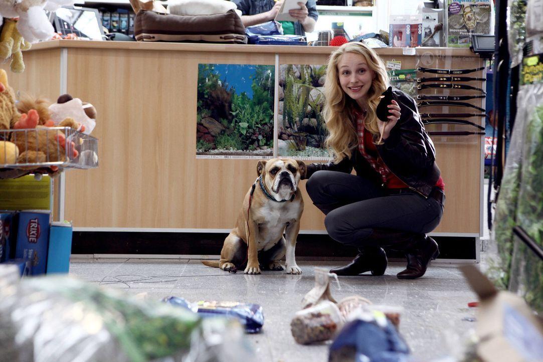 Liebe auf den ersten Blick: Bulldogge Lucky und Hanna (Petra Schmidt-Schaller) ... - Bildquelle: Vanessa Fuentes SAT.1