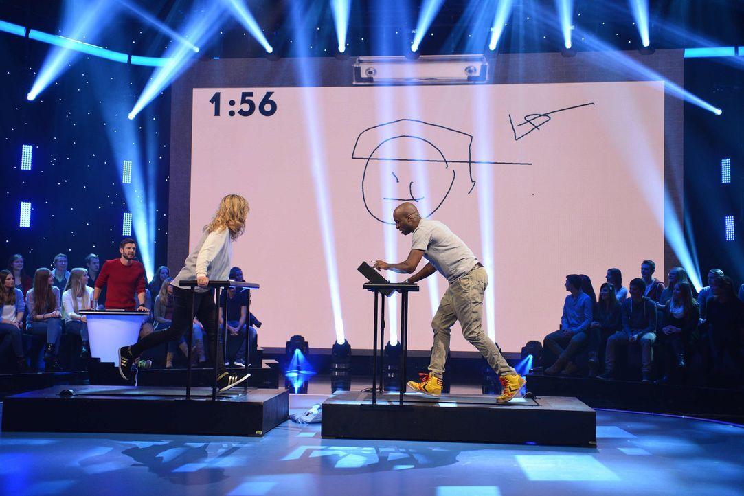 Sind sie die perfekten Fitness-Maler? Lisa Feller (l.) und Dave Davis (r.) ... - Bildquelle: Willi Weber SAT.1