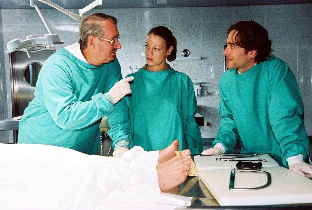 Dr. Graf (Gerhard Zemann, l.) erklärt Niki (Elke Winkens, M.) und Marc (Alexander Pschill, r.) die genaueren Umstände, die zum Tod der jungen Frau... - Bildquelle: Sat.1