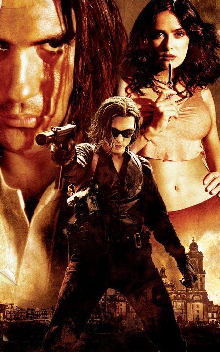 Irgendwann in Mexiko: El Mariachi (Antonio Banderas, l.), Agnet Sands (Johnny Depp, M.) und Carolina (Salma Hayek, r.) ... - Bildquelle: Columbia Pictures Corporation