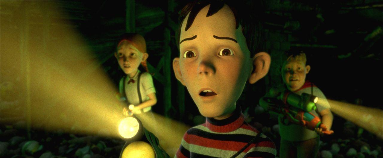 D.J. (M.), Chowder (r.) und Jenny (l.) suchen nach einer Möglichkeit, das lebende Haus zu stoppen. - Bildquelle: Sony Pictures Television International. All Rights Reserved.